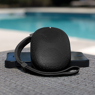 "ISOUND<sup>&reg;</sup> PopDrop™ Bluetooth<sup>&reg;</sup> Speaker - This wireless speaker lets you listen to music anywhere by connecting your Bluetooth<sup>&reg;</sup> device.  Charged speaker features 3 hours of play time.  Speaker is 2.5""L x 2""W x 1/2""H and has a detachable wrist strap.  Capable of playing other music devices with audio cable. Audio cable not included."