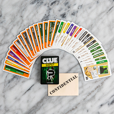 CLUE<sup>®</sup> Suspect Card Game - Determine the suspect, weapon and location of the crime with this fun card game for the whole family.  The first player to solve the crime wins!  Includes 2 decks of cards, 1 confidential envelope and illustrated instructions. Ages 8 and up. 3 - 4 players.