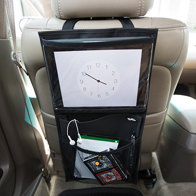 HIGH ROAD<sup>®</sup> Media Organizer - Keep your vehicle organized and clutter-free.  Media organizer attaches around a car seat head rest and features a  quick-release buckle. Organizer measures 10 1/2